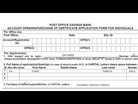 How to fill Post Office savings bank account opening form ? || Hindi