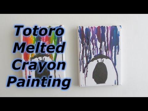 DIY : Totoro Melted Crayon Painting