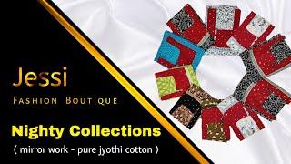 Pure cotton nighties collection 2020 | Mirror work design | Jyothi cotton nighty
