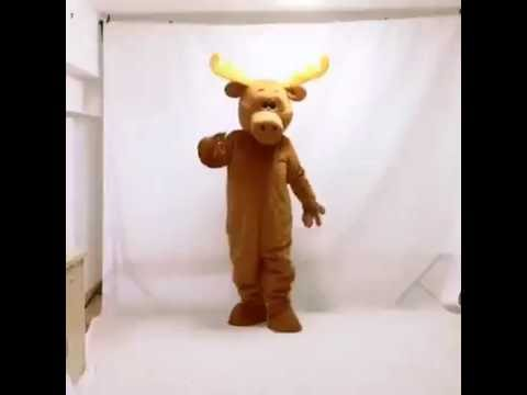 Cute Brown Moony Moose Mascot Costume