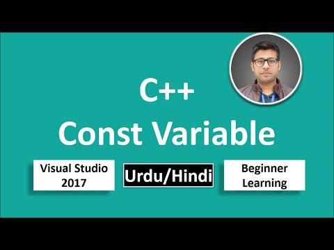 27. C++ in Urdu/Hindi Const Variable Object Beginners Tutorial vs 2017