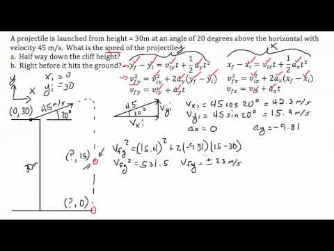 Projectile Motion at Angle off Cliff