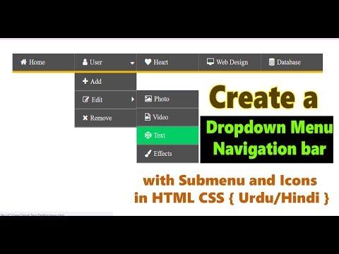 How to Create Dropdown Menu/ Navigation bar with Submenu in HTML CSS { Urdu/Hindi }