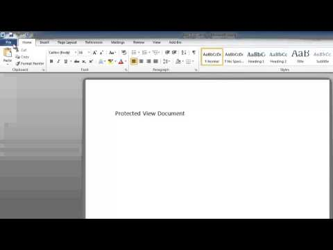 How to disable Word 2010 Protected View