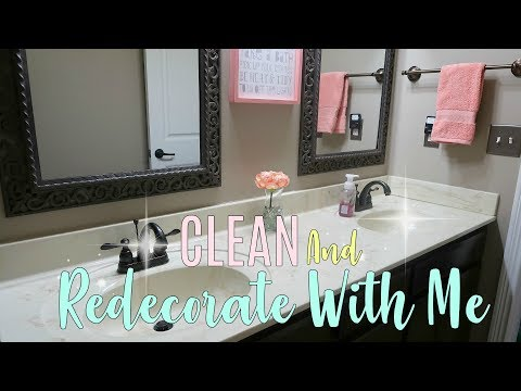 CLEAN AND REDECORATE WITH ME\Little Girls Bathroom Makeover  Cleaning MOTIVATION