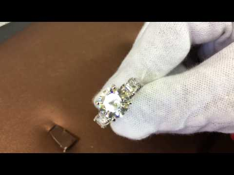 3 carat high quality cubic zirconia engagement ring 14k white gold