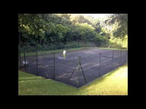 West Midlands Tennis Courts Relining Installation