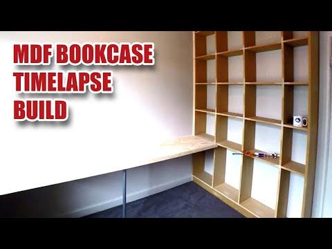 MDF Bookcase & Floating Desk Build (Timelapse) [55]