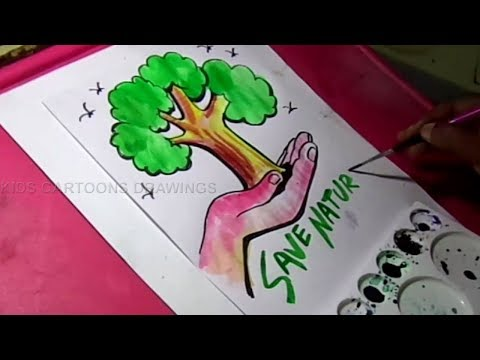 How to Draw Save Trees and Save Nature Drawing for Kids