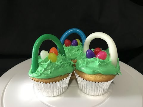 Jelly Bean Easter Basket Cupcakes