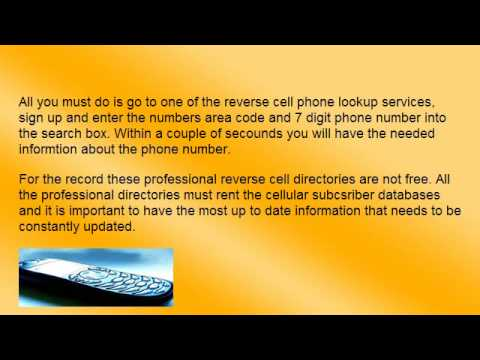 Reverse Cell Phone Lookup - Find A Cell Phone Callers Name When You Only Have a Number