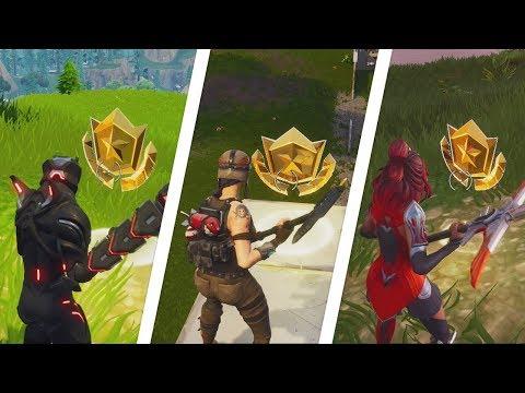 Fortnite Battle Royale - All 7 Secret / Hidden Battle Stars Locations (7 Free Battle Pass Tiers)