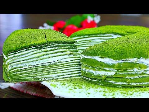 Matcha Mille Crepe Cake Recipe (Matcha Green Tea Crepes)