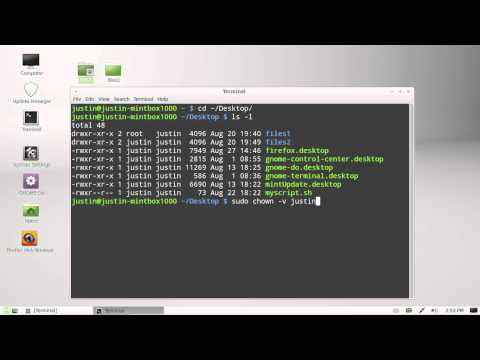 change ownership of a folder in Linux Mint 13