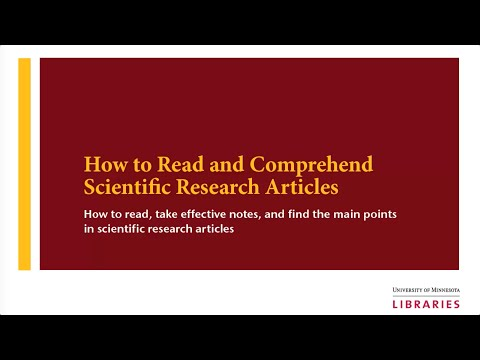 How to Read and Comprehend Scientific Research Articles