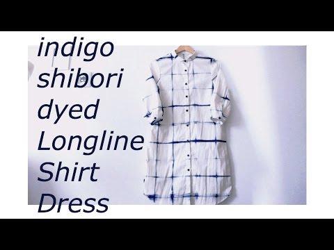 DIY indigo shibori dyed longline shirt dress ✂️ インディゴ染めシャツの作り方ㅣmadebyaya