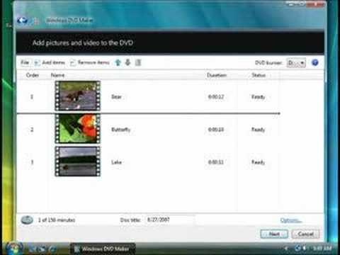 Burn a DVD Video disc with Windows DVD Maker