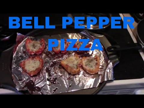 Healthy bacon pizza option using bell peppers