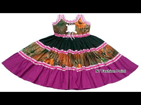 Indian princess girl's baby dress making easy method (DIY)