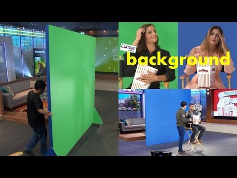 TV talk show studio lighting background set up for green screen/blue screen