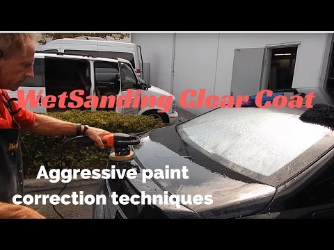 Wet Sanding ClearCoat: aggressive paint correction and car polishing a black car