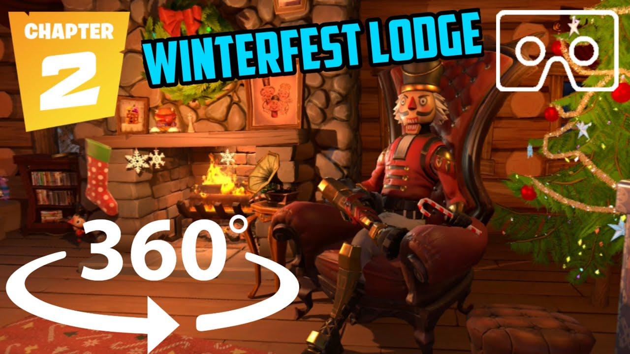 360° Fortnite Christmas Winterfest Lodge   Off camera Secrets \ Easter Eggs