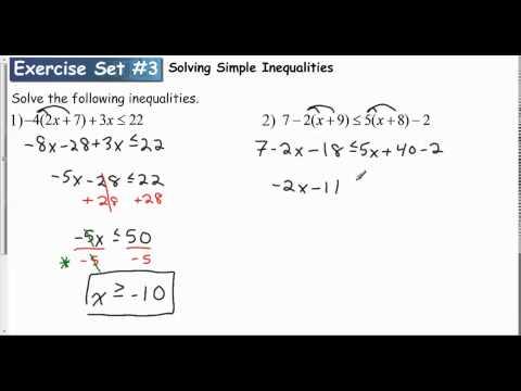 Lesson 1 1   Exercise Set #3 Solving Simple Inequalitis