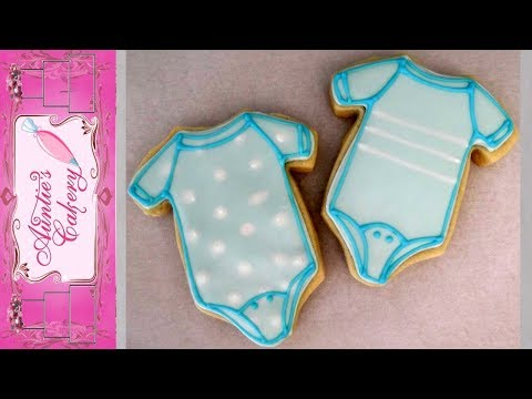 Simple Baby Onsie Cookies with Royal Icing