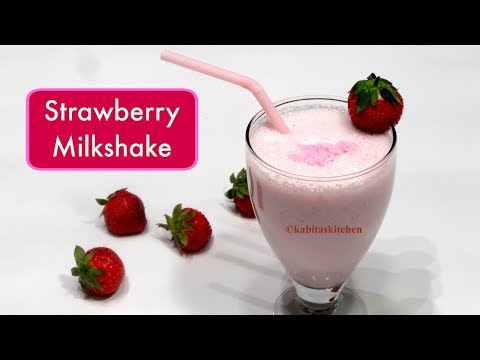 Strawberry Milkshake | Valentine Special | Smoothie | KabitasKitchen