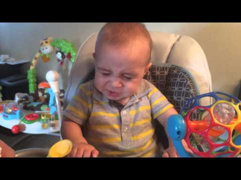 Baby eats eggs for the first time. His reaction is priceless!