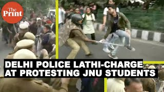 Watch: Delhi police lathi-charge at protesting JNU students