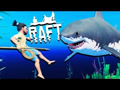 GIANT New Raft Update! - SHARK ATTACKS and Raft Building - Raft Gameplay