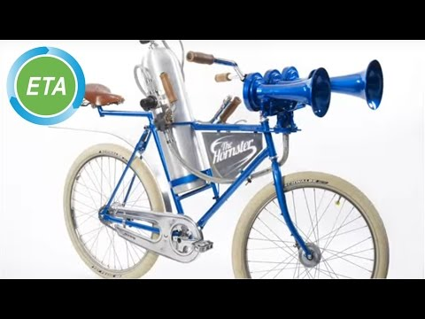 Train horn fitted to bicycle