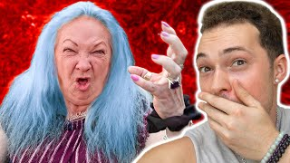 I DYED GRANDMOMS HAIR BLUE.. THIS IS HER REACTION