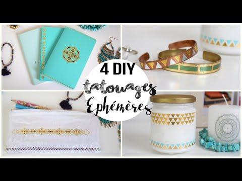 4 DIY DECO TATOUAGES EPHEMERES - Carnet, un bracelet, un pot et une trousse DIY FRANCAIS