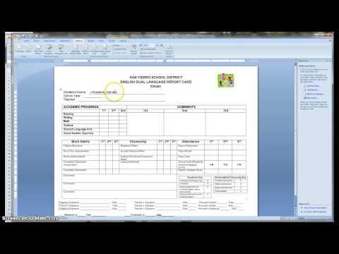 Dual Language Report Card mail merge