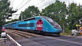 TGV et RER C au passage à niveau d'Antony - PN n°9 de Fontaine-Michalon (92).