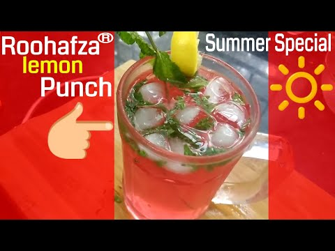 Cool summer drink Roohafza lemon punch in 1 minute | Quick drink recipe | sharbat drink