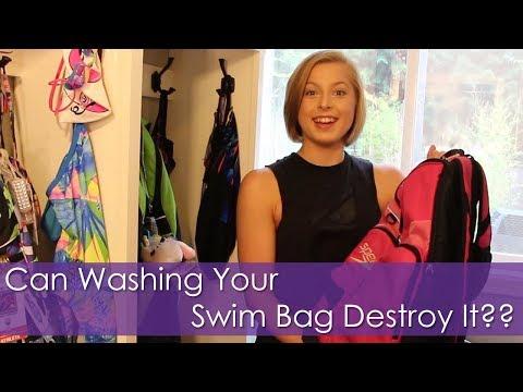 Can Washing Your Swim Bag Destroy It?? Putting My Bag In The Washing Machine! Swim Hack!