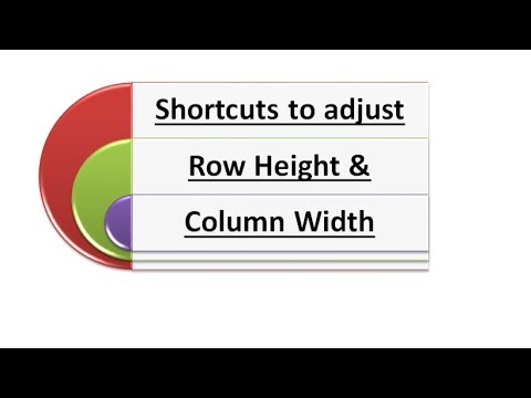 Shortcuts to adjust Row Height & Column width
