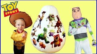DISNEY TOY STORY GIANT Surprise EGG Unboxing Opening Buzz Lightyear Woody Rex Jessie Mr Potato Head