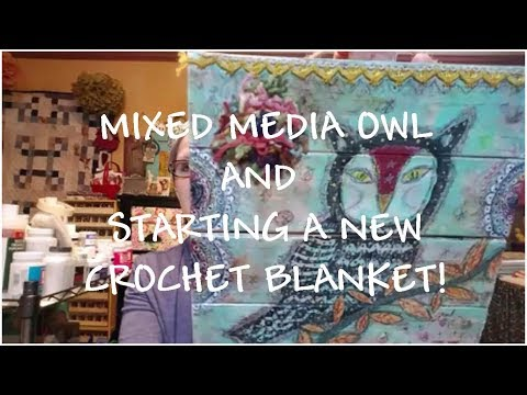 Mixed Media Collage Owl ~ New Crochet Blanket Afghan ~ Books Read