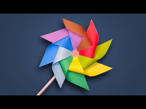 Paper Windmill - How to Make a Rainbow Color Paper (Pinwheel) for Kids DIY Tutorial