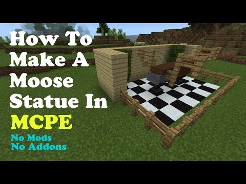 How To Build A Moose Statue In MCPE | No Mods , Addons Or Commands!