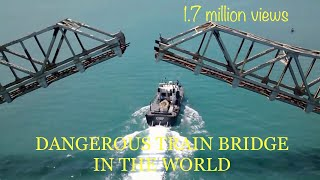 Pamban Rameswaram - India's first cantilever, Hand cranking bridge opened for a ship to cross.