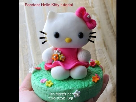 DIY How to do fondant Hello Kitty - Fondant Kitty tutorial