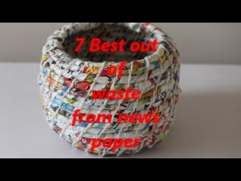 7 Best out of waste from News paper | easy crafts | Crafty Puja | DIY | 13