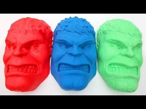 Hulk Kinetic Sand VS Play Foam VS Play Doh VS Spiderman Dr Drill Mighty Toys