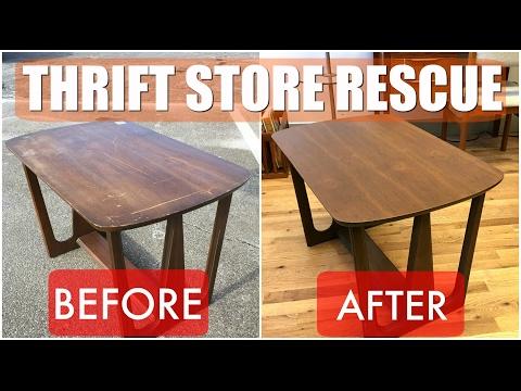 Thrift Store Rescue #2 / Mid Century Table Refinish & Reglue / Minneapolis