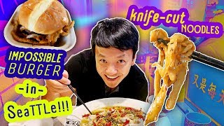 Trying IMPOSSIBLE BURGER & BEST Knife Cut NOODLES!